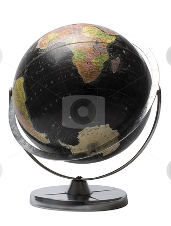 Black globe stock photo, Black earth globe showing the sourthern hemisphere by Yann Poirier