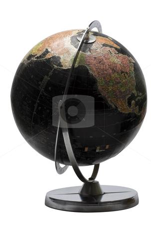 Black globe - North America stock photo, Terrestrial globe in black color showing the north american continent by Yann Poirier