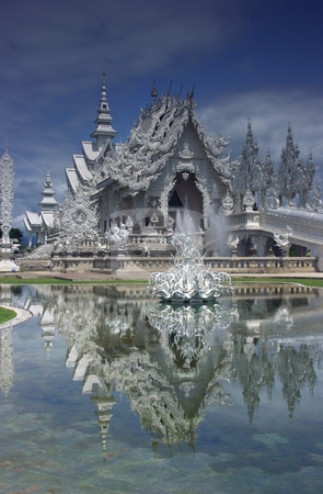 Wat Rong Khun White Temple stock photo, Wat Rong Khun buddhist and hindu temple in Chiang Rai, Thailand. by Martin Darley