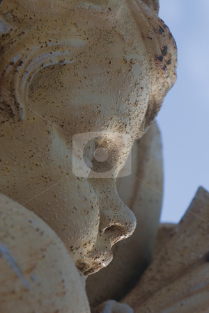 Close up Cherubin stock photo, Close up of a cherubin statue by Yann Poirier