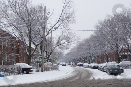City winter scene stock photo, Morning in the city after snow fall by Yann Poirier