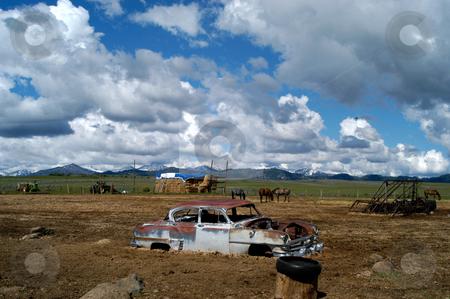 Stuck stock photo, USA, Idaho, Elmore County, Prairie, Car in a Muddy Pasture by David Ryan