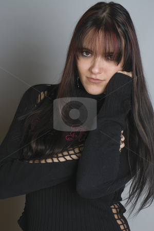 Fashion model stock photo, Twenty something fashion model hugging herself by Yann Poirier