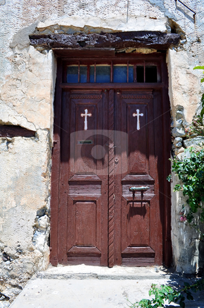 Old door stock photo, Travel photography: old door at the historic Preveli Monastery in Crete, Greece. by Fernando Barozza