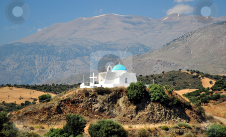 Greek chapel stock photo, Travel photography: Greek orthodox chapel at the top of a hill, in Crete. by Fernando Barozza