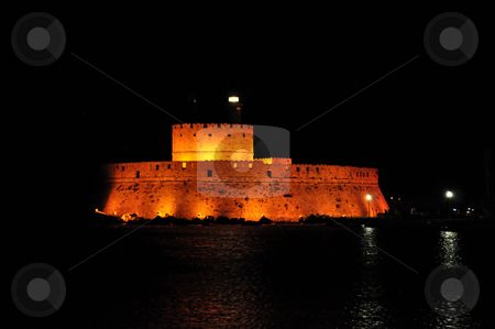 Fort Saint Nicholas stock photo, Fort Saint Nicholas at night, island of Rhodes, Greece by Fernando Barozza