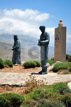 War memorial in Southern Crete, Greece. stock photo, Travel photography: Monument to the Battle of Crete. Monks and allies soldiers. by Fernando Barozza