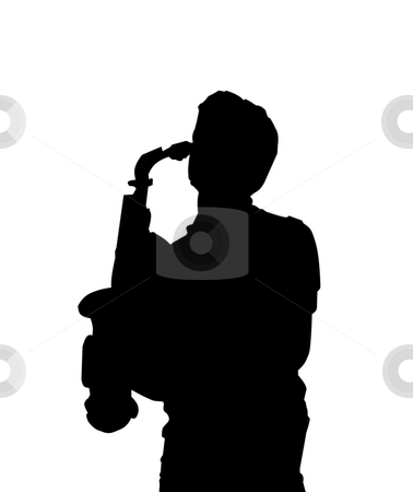 Sax player stock photo, Silhouette of a sax player by Fabio Alcini