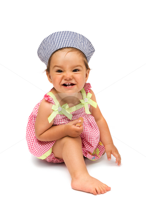 Naughty but Cheerful Baby Girl stock photo, Cute little girl, naughty but cheerful, sitting on white, isolated background. by Rognar