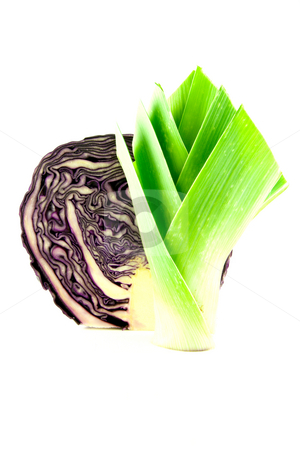 Leek and Red cabbage stock photo, Red cabbage cut in half with a leek on a white background by Keith Wilson