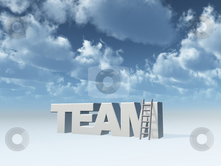 Team stock photo, The word team and a ladder in front of blue sky - 3d illustration by J?