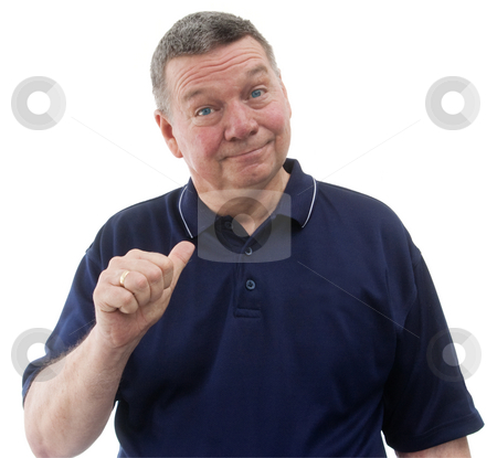 What's in it for me!  Portrait of mature man, isolated on white stock photo, Portrait of mature man wearing a dark blue polo shirt, smiling and pointing with thumb to himself, isolated on a white background. by Steve Carroll
