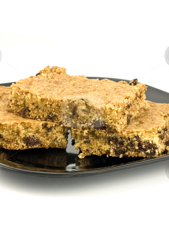 Chocolate Chip Cookie Bar stock photo, Chocolate chip cookie bar on a white background by John Teeter