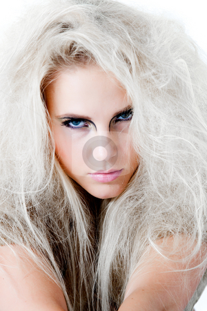 Trying to catch your look with my blue eyes stock photo, Model looking hypnotizing at the viewer.