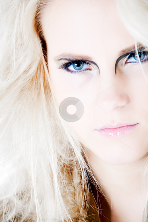 Let my blue eyes make you wild stock photo, White haired modelsa close-up.