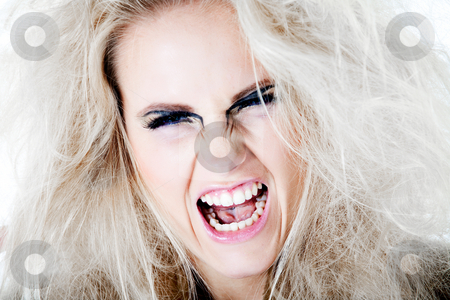 Wildly screaming at you with my white hair stock photo, Screaming model with white wild hair.