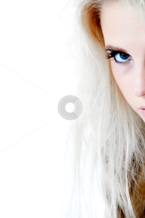 Around the corner looking at you with one blue eye stock photo, Close up of part of face around a corner.Usable for health and beauty, cosmetics, love, hate and emotional issues. by Frenk and Danielle Kaufmann