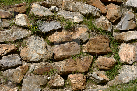 Stone Wall stock photo, Old stone wall build along a road by Andre Janssen