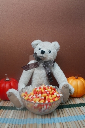 Teddy bear with candy stock photo, One teddy bear with bowl of candy corn and pumpkins in the background for autumn by Shirley Mathews