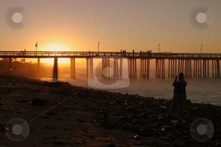 Sunrise Pier Ventura stock photo, The Ventura pier at sunrise at the beach. by Henrik Lehnerer