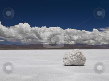 With a pinch of salt stock photo, A salt rock sitting on huge a salt field. Mountains on the background. by Ignacio Gonzalez Prado