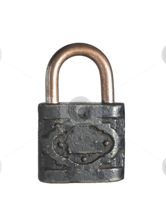 Old and rusty lock stock photo, An old and rusty lock isolated on white background. by Ignacio Gonzalez Prado