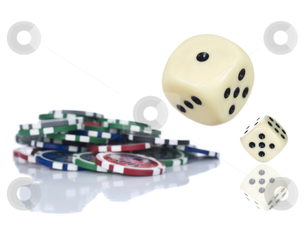 Rolling dices stock photo, Two dices rolling beside some gambling chips. Isolated on white. by Ignacio Gonzalez Prado