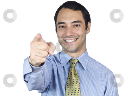 You stock photo, A young businessman smiling and pointing at you. by Ignacio Gonzalez Prado