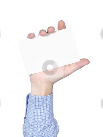 Blank card stock photo, Blank card in human hand, isolated on white. by Ignacio Gonzalez Prado