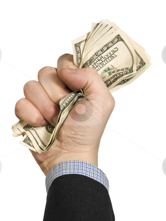 A few hundred stock photo, A few one hundred dollar bills on a man's fist. Isolated on white. by Ignacio Gonzalez Prado