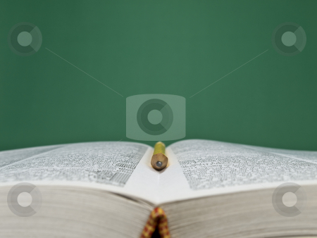 Starting a lesson stock photo, A blank chalkboard with an open book and a pencil on foreground. by Ignacio Gonzalez Prado