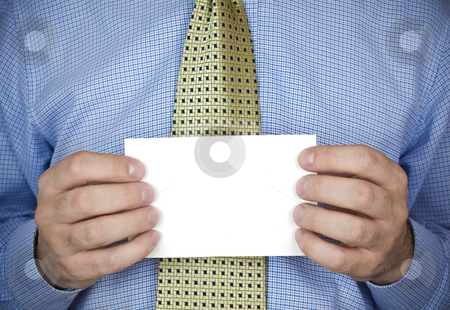 Holding a card stock photo, An office man holding a blank card with his hands. by Ignacio Gonzalez Prado