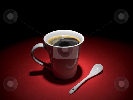 Coffee moment stock photo, A cup of tasty coffee and a spoon aside, together in a relaxing mood. by Ignacio Gonzalez Prado