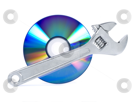 Help stock photo, Technical support, fixing problems icon. A spanner and a digital disc. by Ignacio Gonzalez Prado