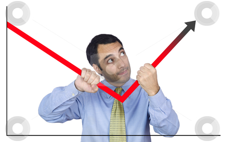 Good projections stock photo, A young business man bending the chart with his own hands. Isolated on white. by Ignacio Gonzalez Prado