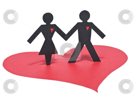 Paper love stock photo, A couple of paper figures holding hands over a red paper heart. Isolated on white. by Ignacio Gonzalez Prado