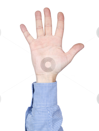 Number 5 stock photo, A man's hand doing number 5 gesture, isolated on white background. by Ignacio Gonzalez Prado