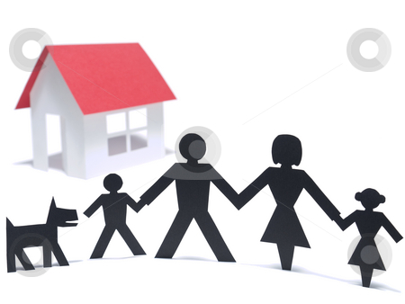 First family house stock photo, A paper family is holding hands beside their new paper house. Even the paper dog is there. by Ignacio Gonzalez Prado