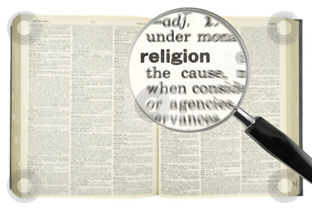 Searching for RELIGION stock photo, A magnifying glass on the word RELIGION on a dictionary. by Ignacio Gonzalez Prado