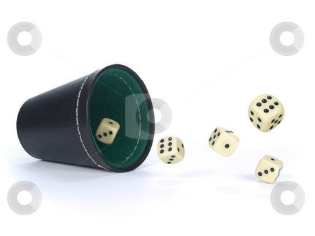 Dice shaker stock photo, Dice shaker with dices isolated on white. by Ignacio Gonzalez Prado