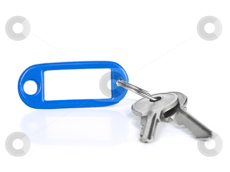Blue keyring stock photo, Two keys on a blank keyring with space for text. Isolated on white. by Ignacio Gonzalez Prado