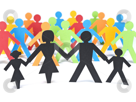 The family first stock photo, A paper family holding hands in front of a group of multicolor paper men. by Ignacio Gonzalez Prado