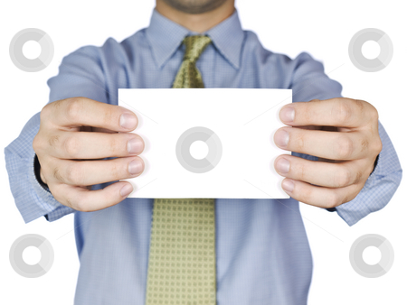 White card stock photo, Business man holding a blank white card (focus on the card). Isolated on white. by Ignacio Gonzalez Prado