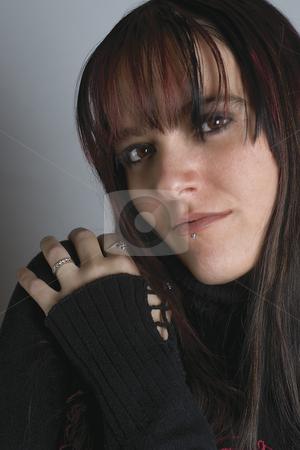 Fashion model - hugging stock photo, Close up of a twenty something fashion model hugging herself by Yann Poirier