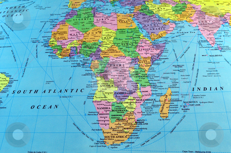 Map Of India And Africa.Africa Map Stock Photo