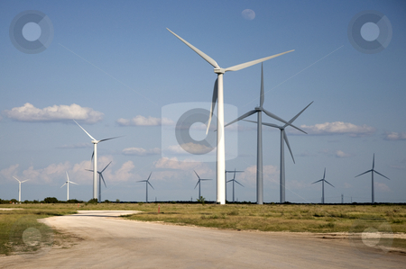 Horse Hollow Farm stock photo, The road leading into the wind farm. by Charles Buegeler
