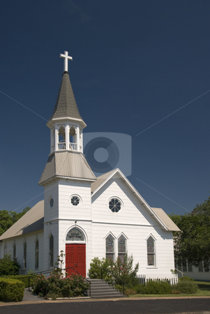 White Church with Red Doors stock photo, Classic white church with bright red doors. by Charles Buegeler
