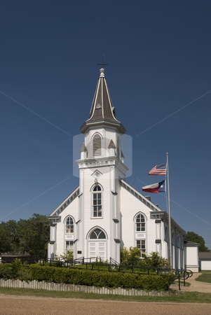 White Wooden Church at Dubina stock photo, Front view of the white church at Dubina by Charles Buegeler