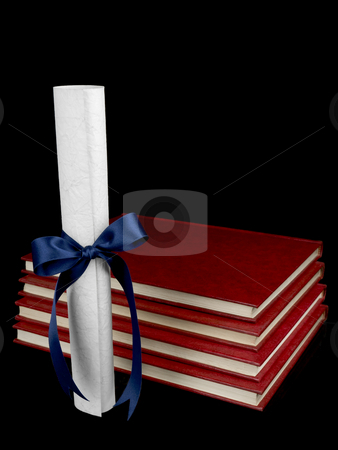 Diploma and books stock photo, A diploma with blue ribbon and several books aside. Isolated on black. by Ignacio Gonzalez Prado