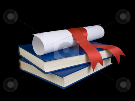 Dilploma and books stock photo, A diploma with red ribbon over blue books. by Ignacio Gonzalez Prado